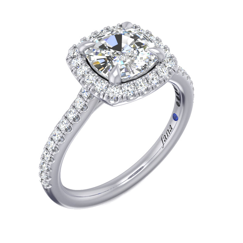 Fana Bold Cushion Halo with Pave Band Engagement Ring