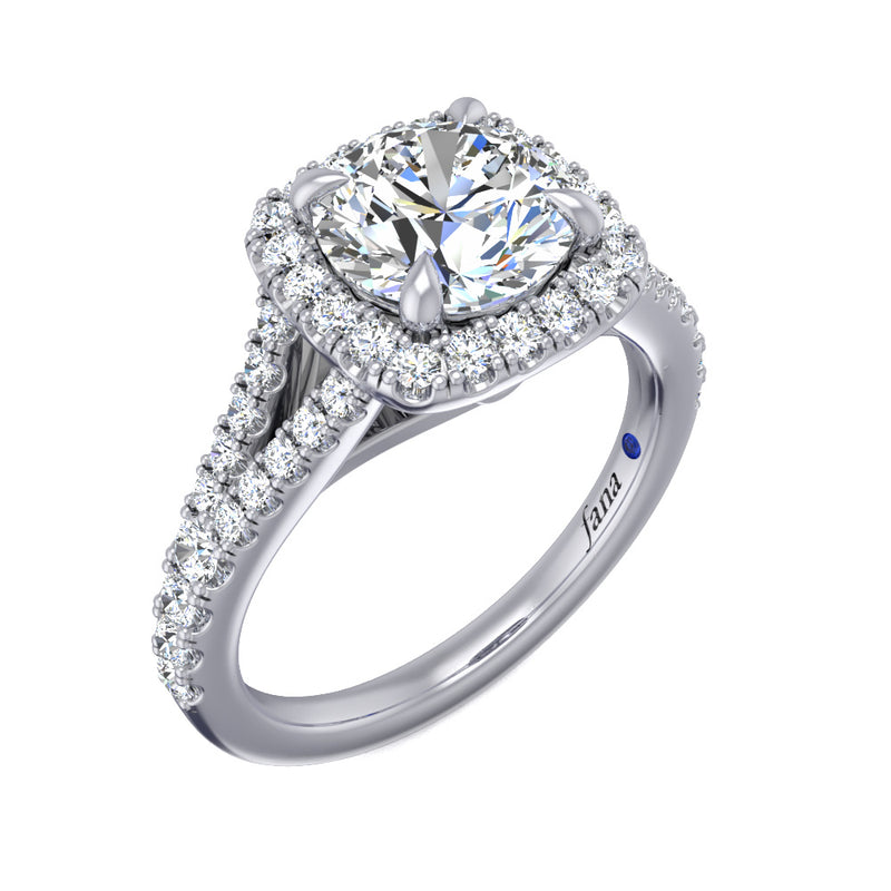 Fana Split Shank Halo Engagement Ring