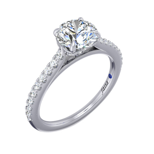 Delicate Round Cut and Pave Engagement Ring