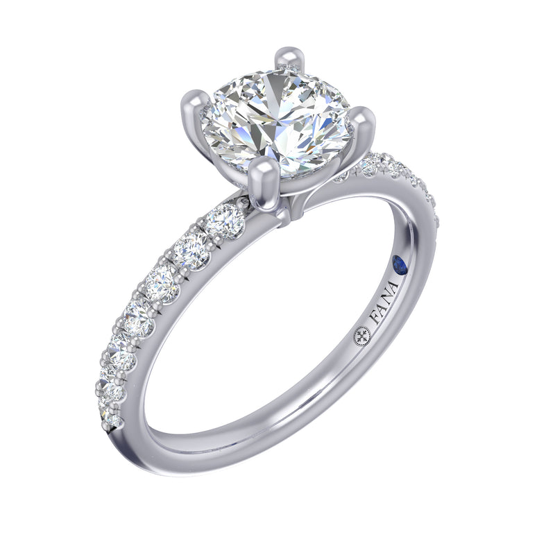 Classic Pave Round Cut Engagement Ring