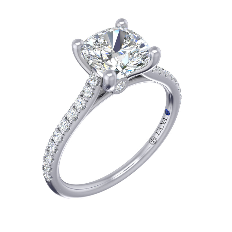 Diamond Lined Cathedral Band Engagement Ring