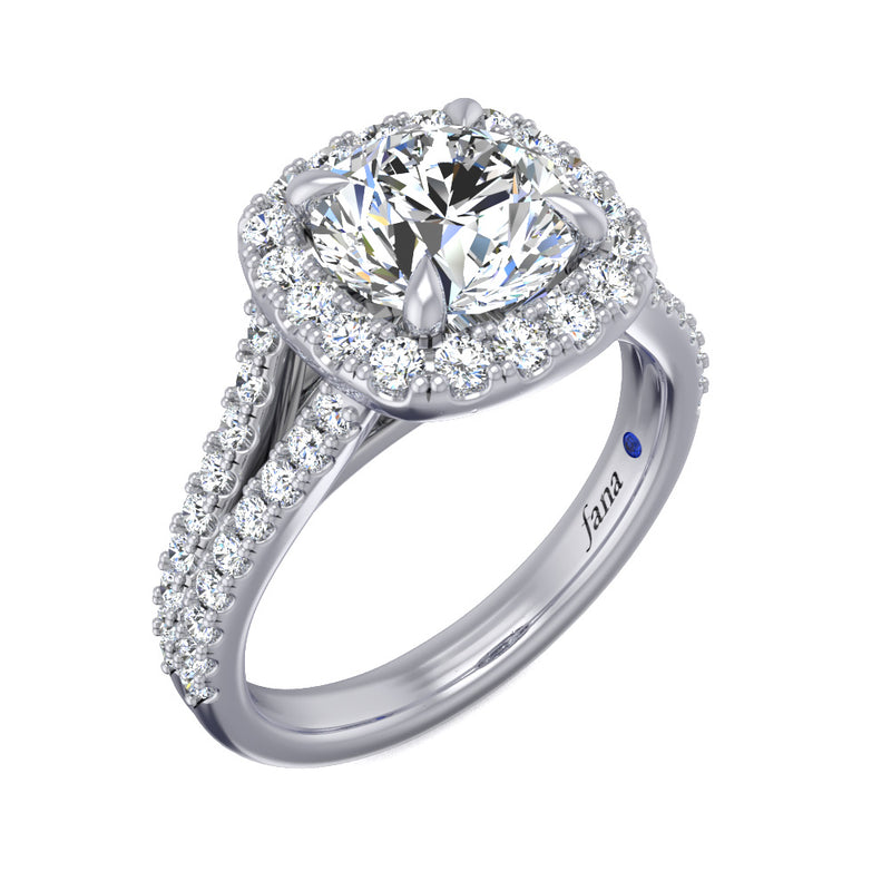 Fana Two Row Split Band with Cushion Halo Engagement Ring