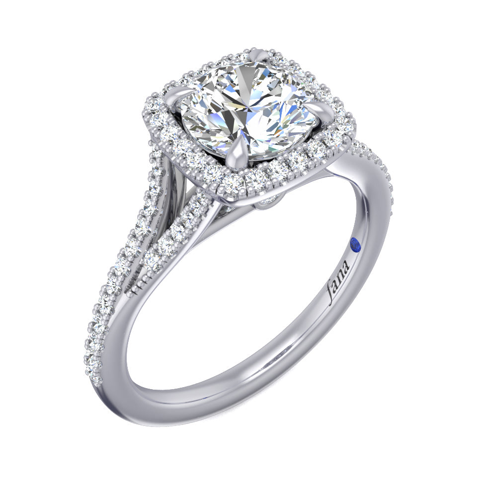 Fana Cushion Halo with Pave Split Band Engagement Ring