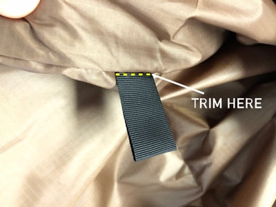 Trim here - grosgrain tabs