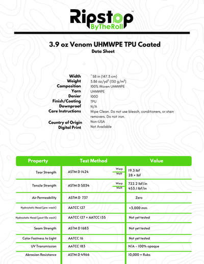3.9 oz Venom™ UHMWPE TPU Coated