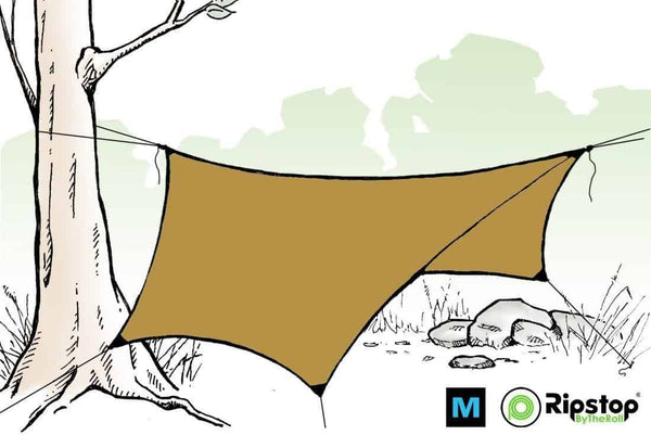 Pre-Cut HEX12 Ultralight Tarp Kit, Khaki