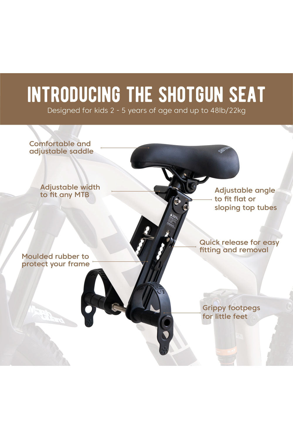 Kids Ride Shotgun Front Mounted Child Bike Seat