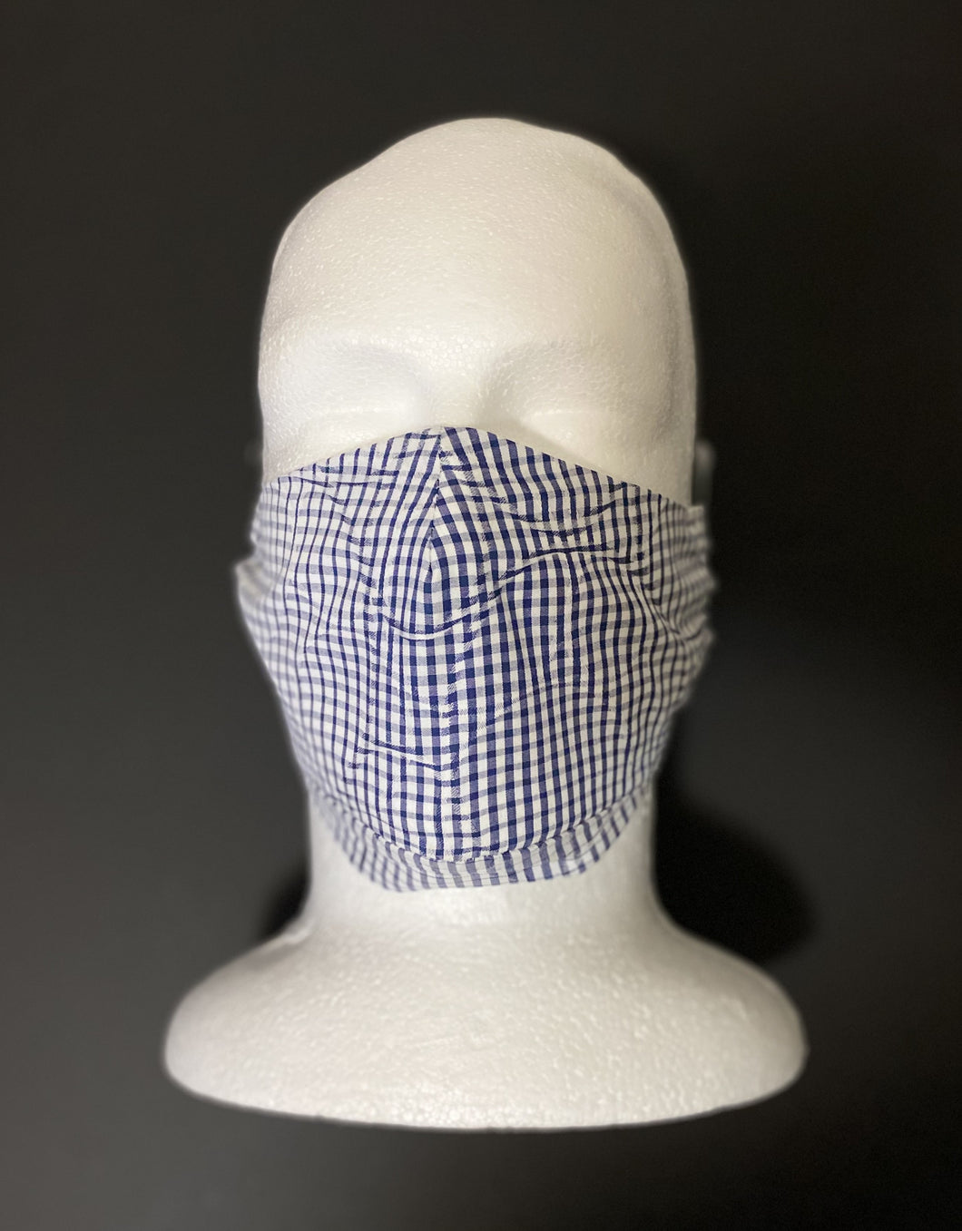 ADULT UNISEX NON-SURGICAL MASK 3 x LAYER Optical Blue & White Check