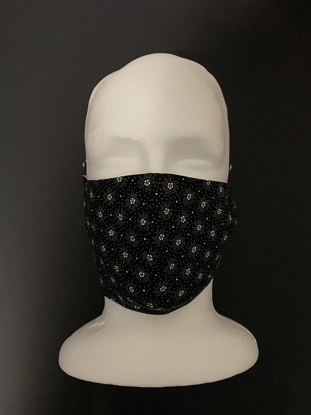 ADULT UNISEX NON-SURGICAL MASK 3 x LAYER White Dot Floral on Black