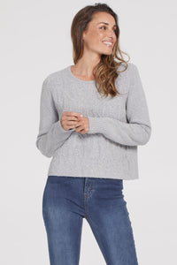 Tribal Grey Mix Sweater With Pearl Detail 67650-0266