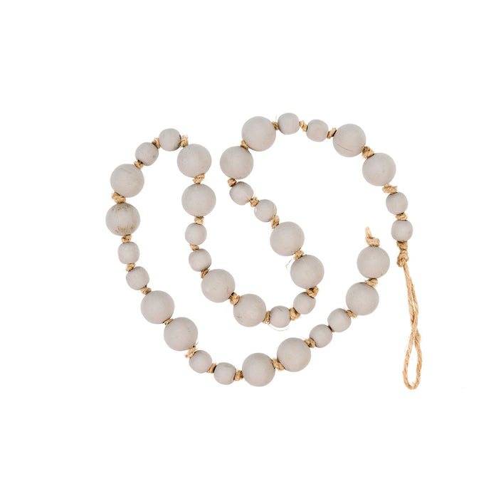 Beads, Wood Prayer, Light Gray