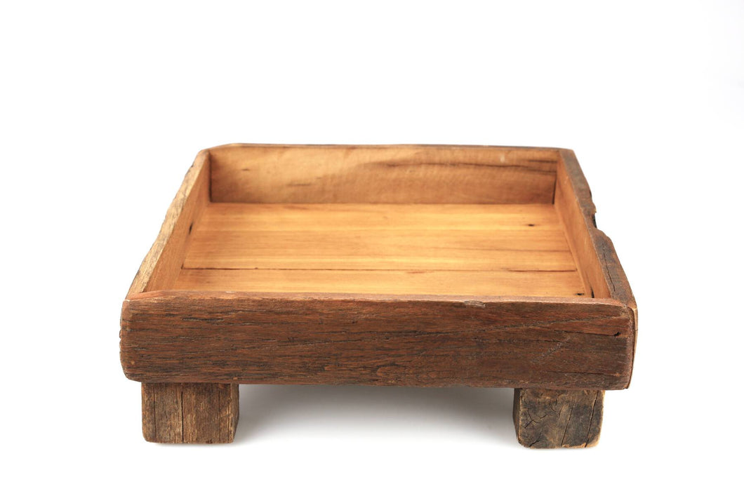 Tray, Square Footed, Reclaimed Wood