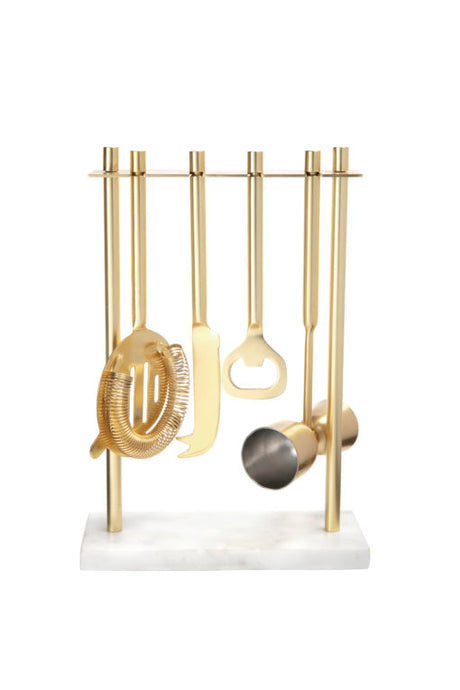Bar Set, Gold with White Marble Stand