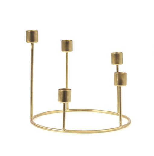 Candle Holder, Gold Wreaths