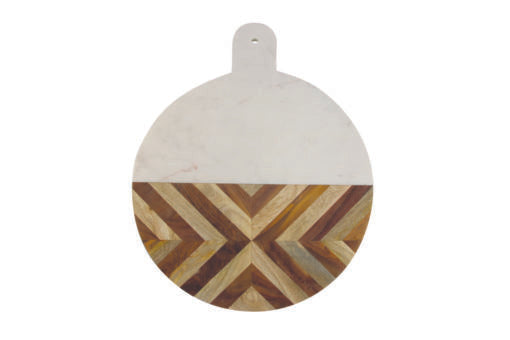 Board, White Marble & Wood Mosaic Round XL
