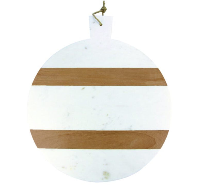 Board, White Marble and Wood Stripe Round with Handle - XL