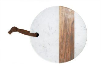 Board, White Marble & Wood Round