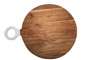 Board, Wood & White Round Large