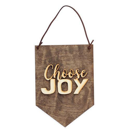 """Choose Joy"" Laser Cut Wooden Wall Banner"