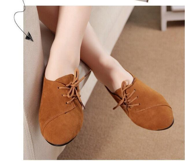 Casual Women Shoes Women  Leather lace-Up Flat Shoes