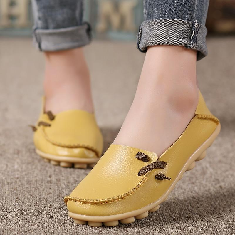 Flats Women Plus Size 34-44 Genuine Leather Shoes