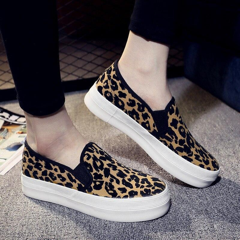 Casual Flat Shoes Women Canvas Slip On Flats Platform Loafers