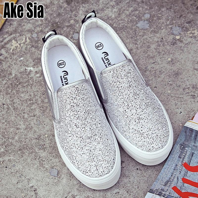Female Women Mujer Fashion Rhinestone Paillette Adorn Plimsolls Heighten Thicken Soled Casual Moccasins Flat Shoes