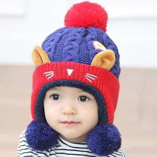 Cute Fur Knitted Baby Cap