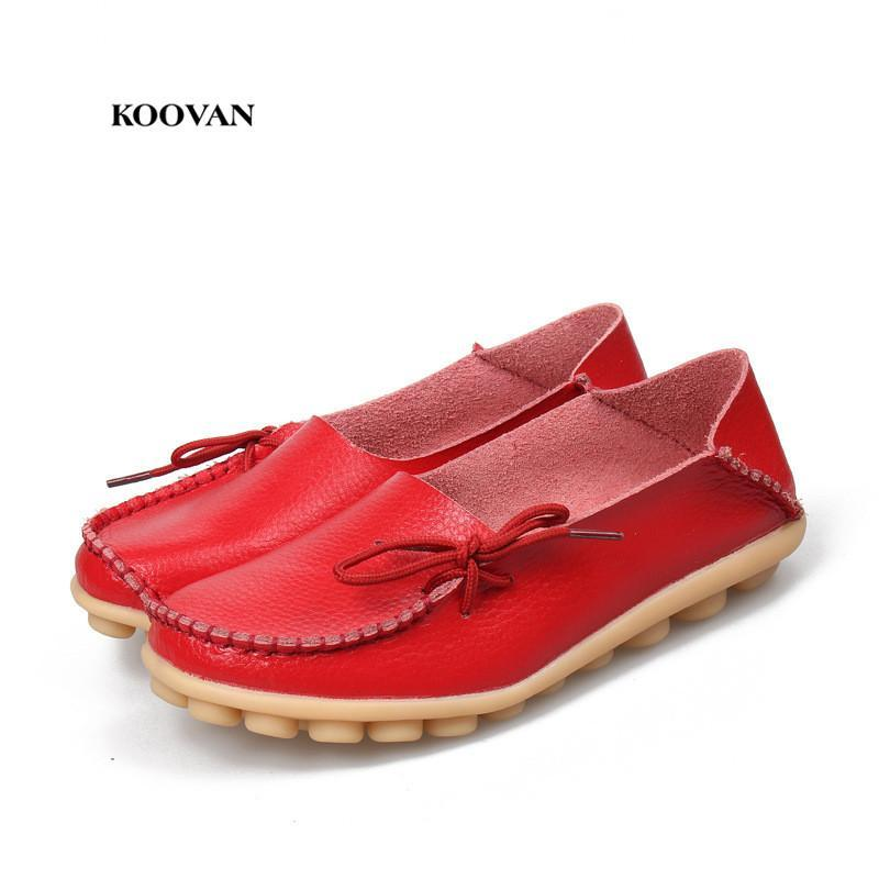 Women Flats Shoes  Large Size Real Leather Mommy Shoes