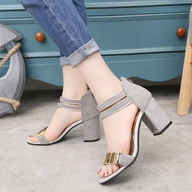 Gladiator Sandals Women Square heel Sandals Party Wedding Shoes Bling Bling Ladies Sandals