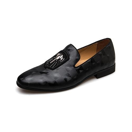 Genuine Leather Men Loafers Fashion Black Banquet Shoes