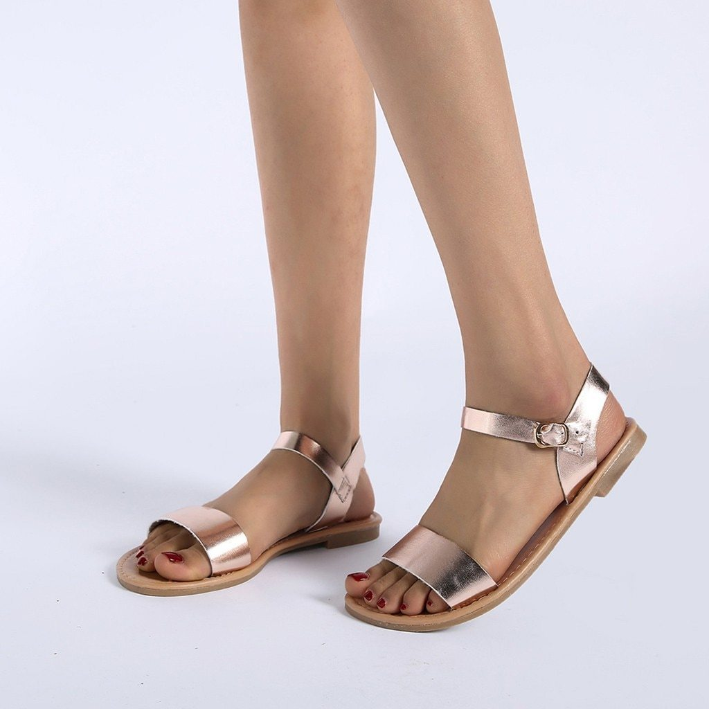 Women's Sandals Solid Color PU Leather Sandals