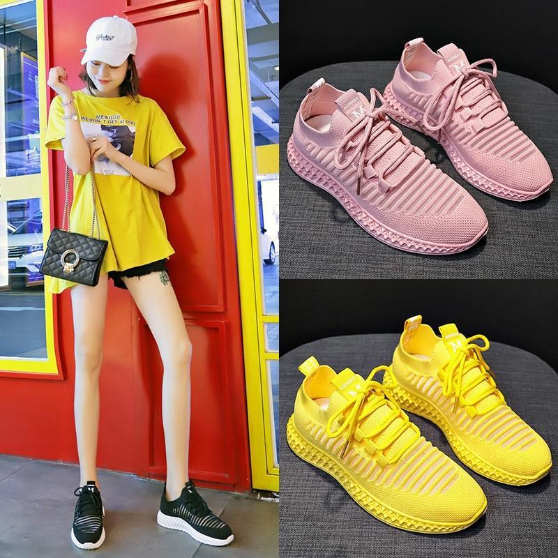 Sneakers Women Breathable Air Mesh Pink Green Platform Shoes