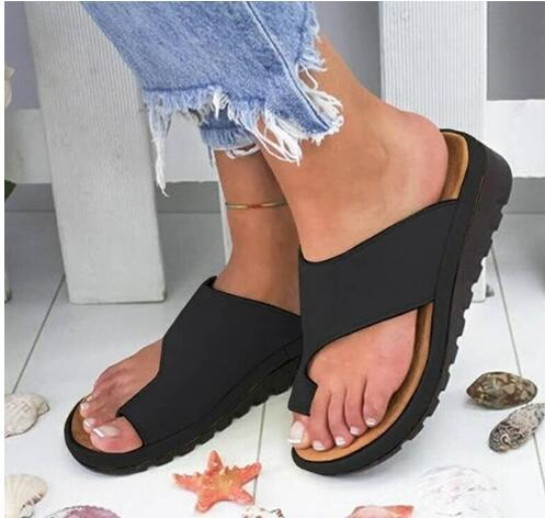 Women Comfy Platform Sandal Shoes Feet Correct Thickened Street PU Leather Dating Shopping Flat Sole Women Sandal