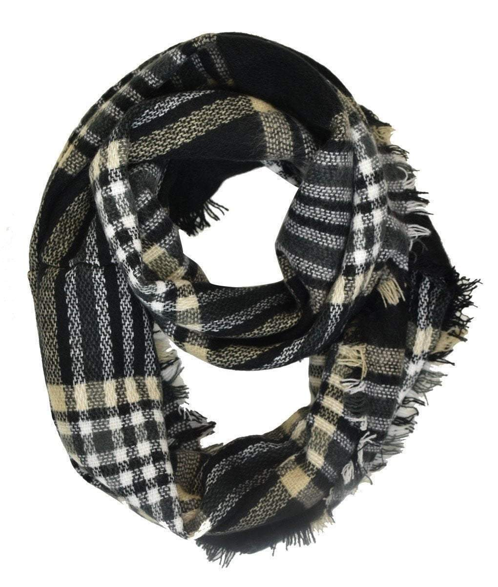 Black and Gold Gingham Plaid & Check Infinity Scarf