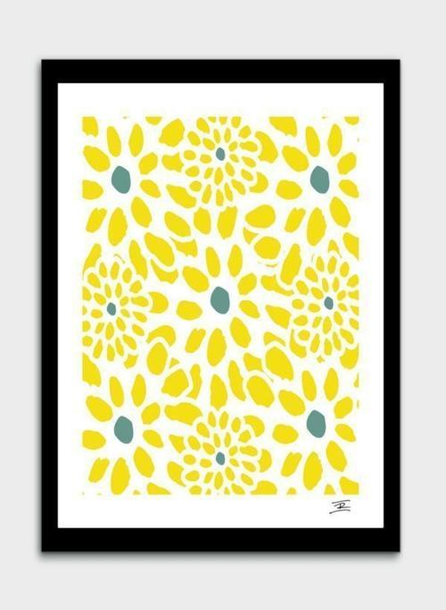 Flowers in Yellow  Frame