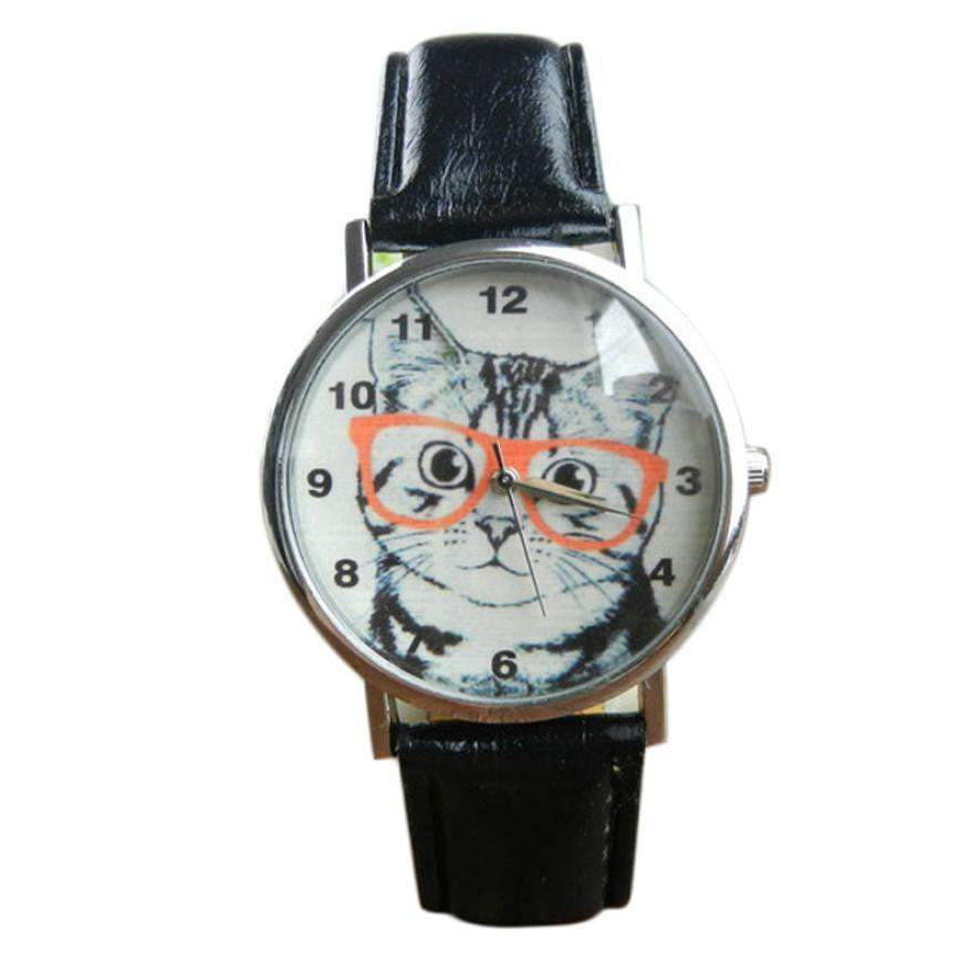 Cute Cat Pattern Women Girl Leather Band Analog Quartz WristWatch