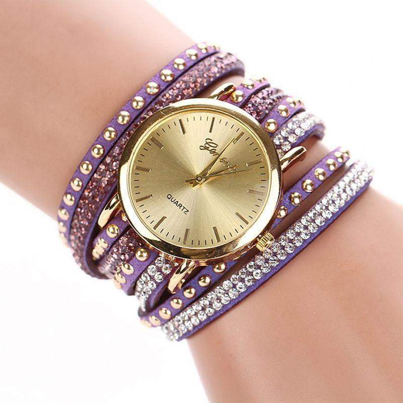 New Arrival Luxury Brand Casual Women's Watches PU Leather Korean Crystal Rivet Bracelet