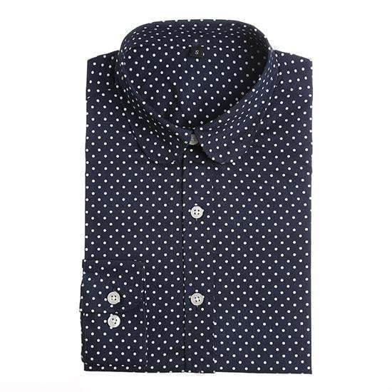 Polka Dot Cotton Women Long Sleeve Blouses Shirt