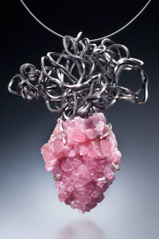 One-of-a-kind Pink Colbalt Cacite with sterling silver Pendant
