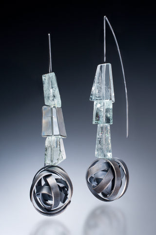 One of a kind Earrings with Aquamarine