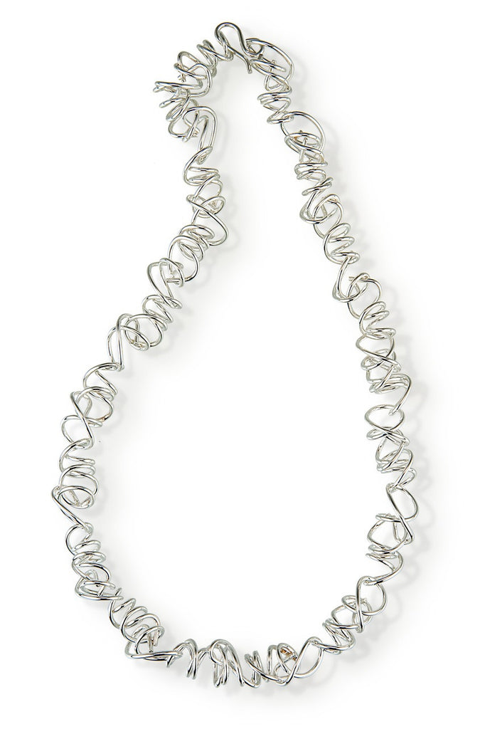 Sterling silver wrapped round wire necklace