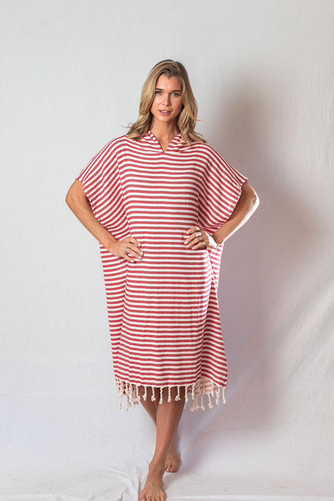 Adult Beach Poncho_Crimson