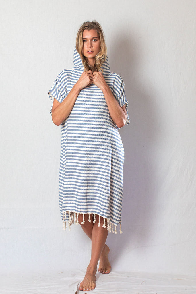 Adult Beach Poncho_Denim Blue