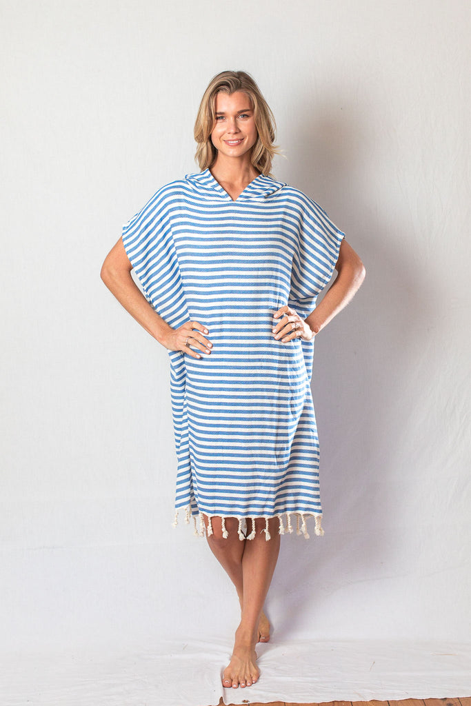 Adult Beach Poncho_ Ocean Blue