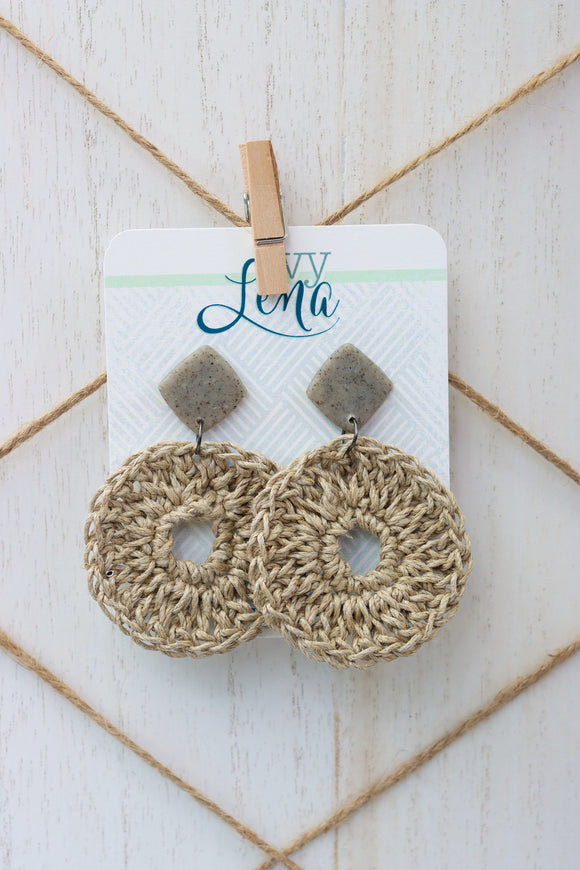 Handcrafted Polymer Clay Earrings and Crocheted Hemp Cord