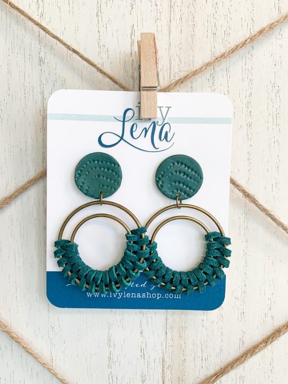 Handcrafted Polymer Clay Earrings and Wrapped Leather Cord