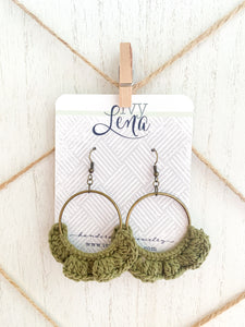 Handcrafted Polymer Clay Earrings and Crocheted Cotton Yarn