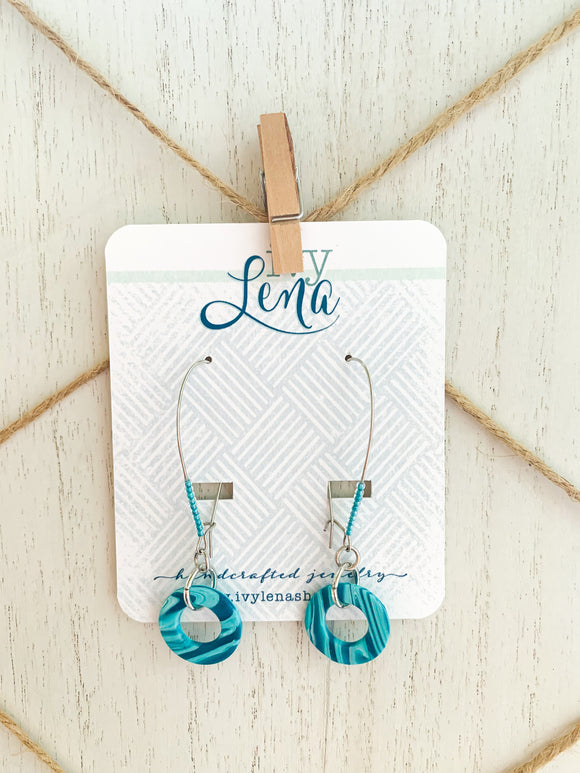 Handcrafted Polymer Clay Earrings- Teal
