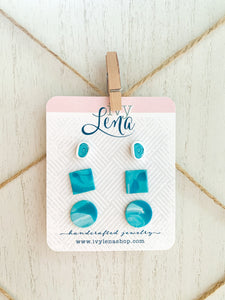 Handcrafted Polymer Clay 3 Pack Stud Earrings- Teal